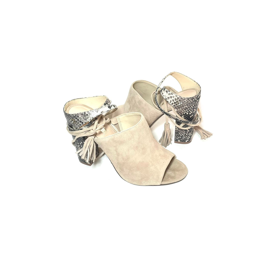 Guess Beige Suede & Snakeskin 'Elicha' Shootie Sandals | Gently Used |