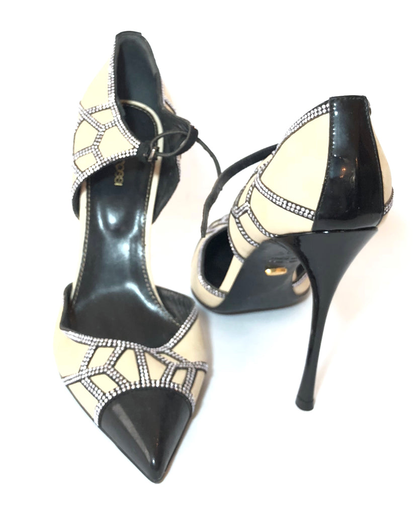 Sergio Rossi Black & Beige Leather Rhinestone pointed Pumps | Gently Used |
