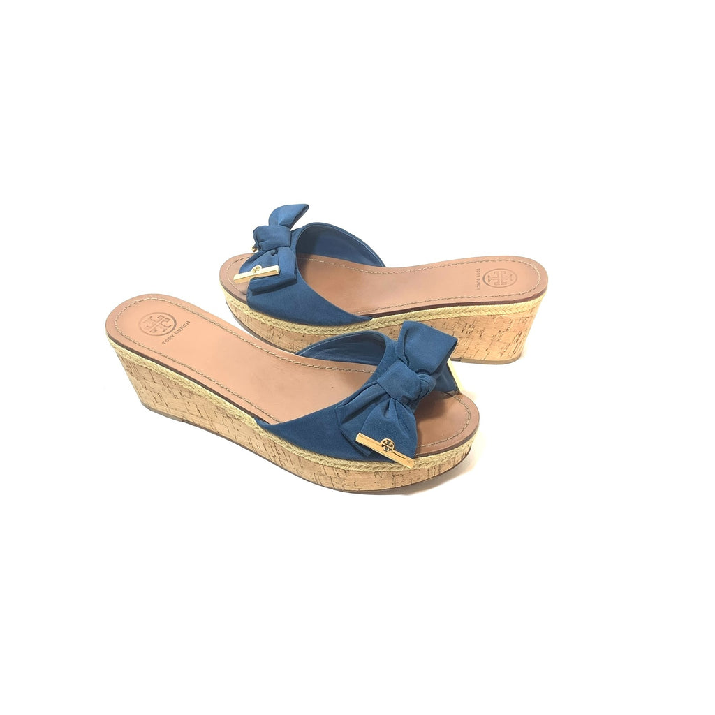Tory Burch 'Penny' Blue Canvas & Jute Wedges | Pre Loved |