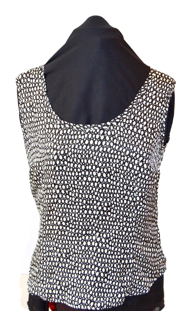 Max Mara Black & White Printed Silk Top | Like New |