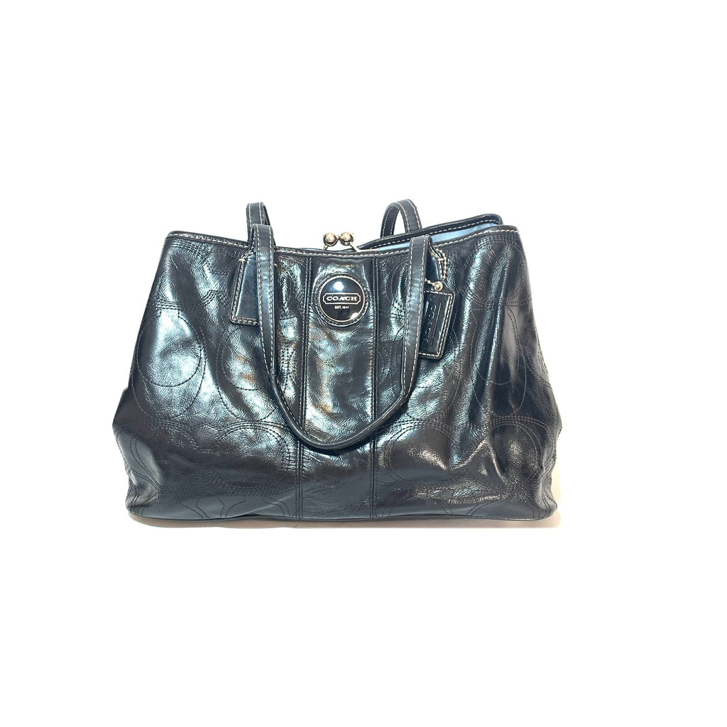 Coach Black Leather Monogram Shoulder Bag | Pre Loved |