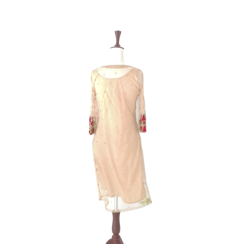 Mina Hasan Beige Embroidered Outfit