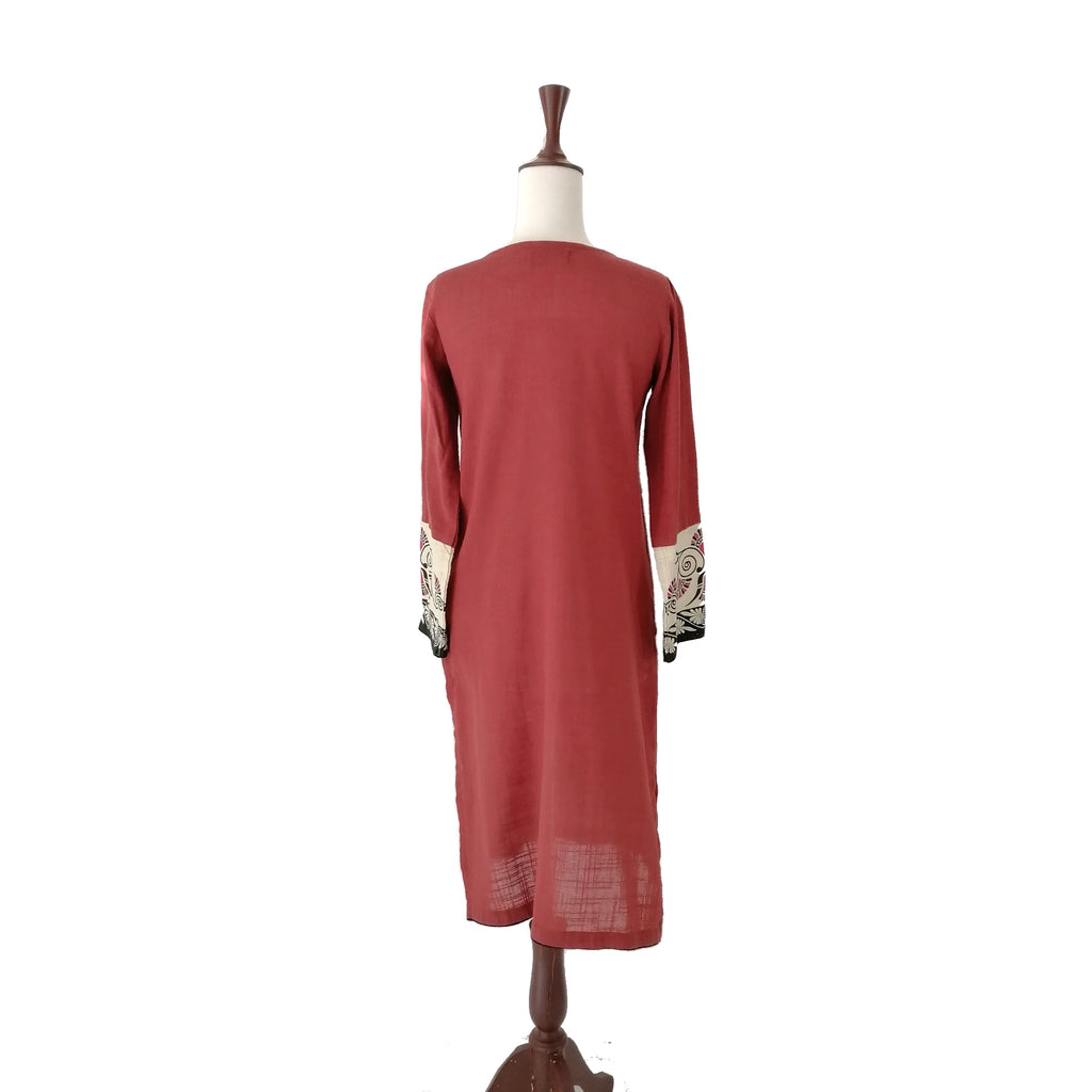 Sana Safinaz Rust Embroidered Kameez