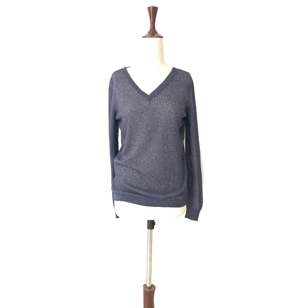 Mango Metallic Blue Knit Top | Gently Used |