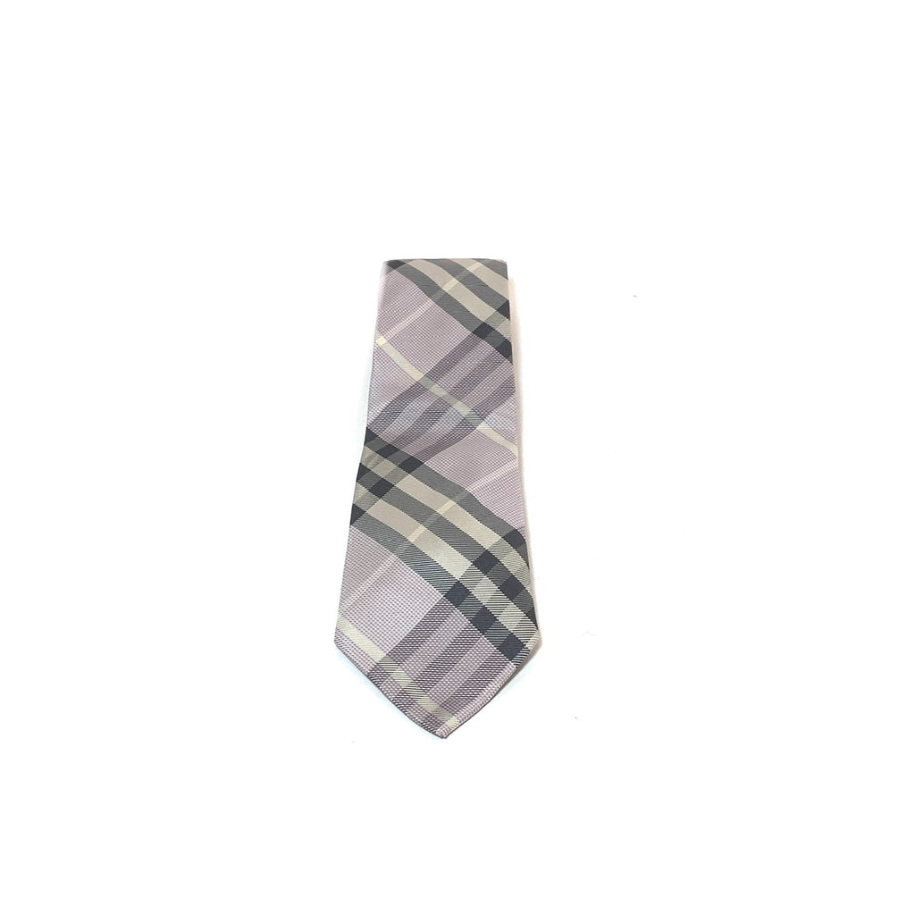Burberry Purple Checked Silk Tie | Gently Used |