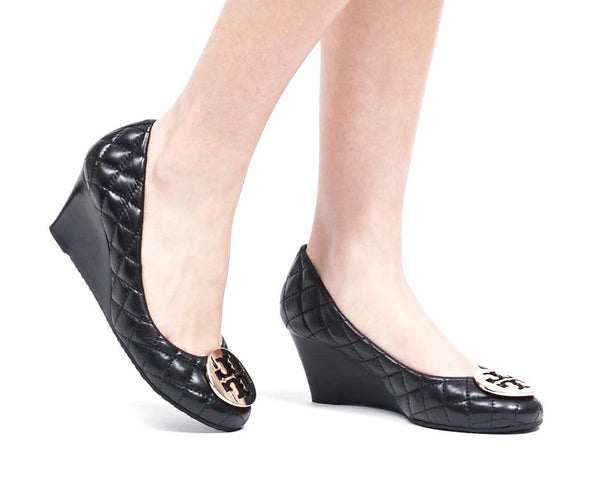 Tory Burch 'Quinn' Quilted Leather Wedges | Gently Used |