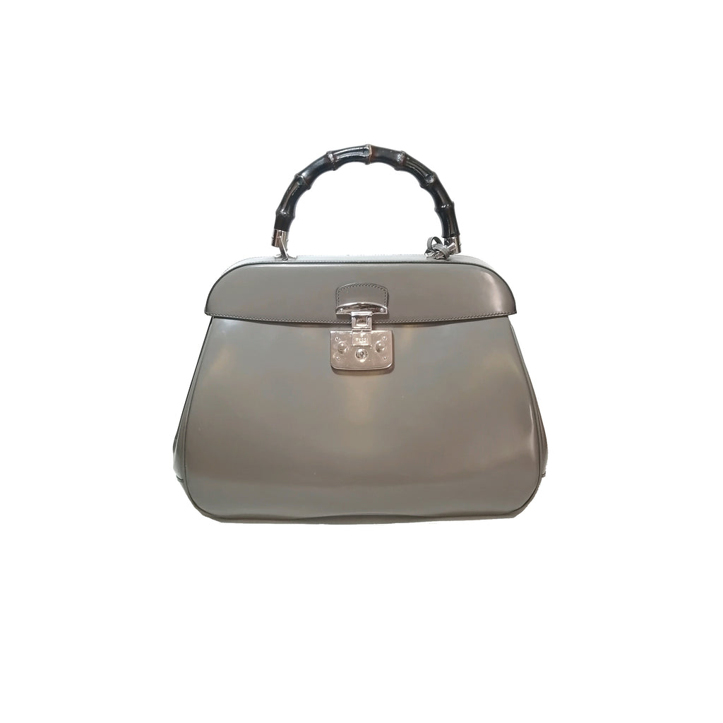 Gucci Lady Lock Grey Leather Bamboo Top Handle Tote