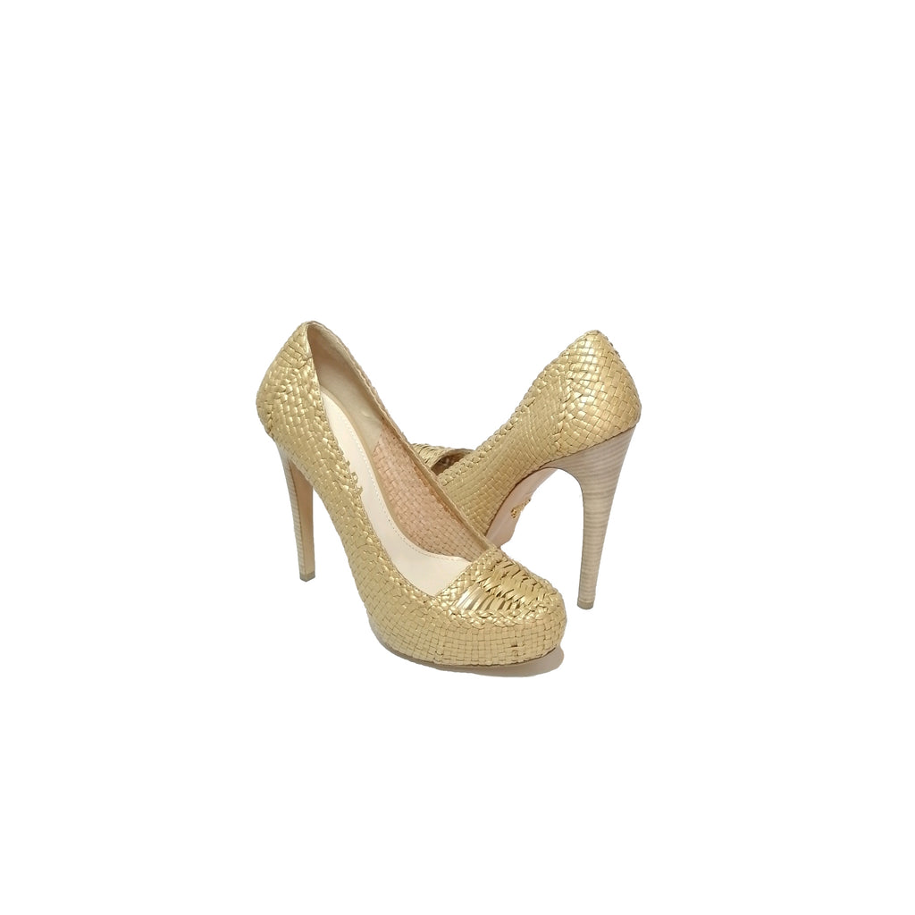 Prada Gold Straw Pumps