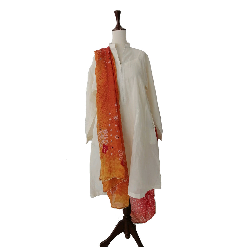Zara Shahjehan Silk Cream Kurta & Orange Duppata