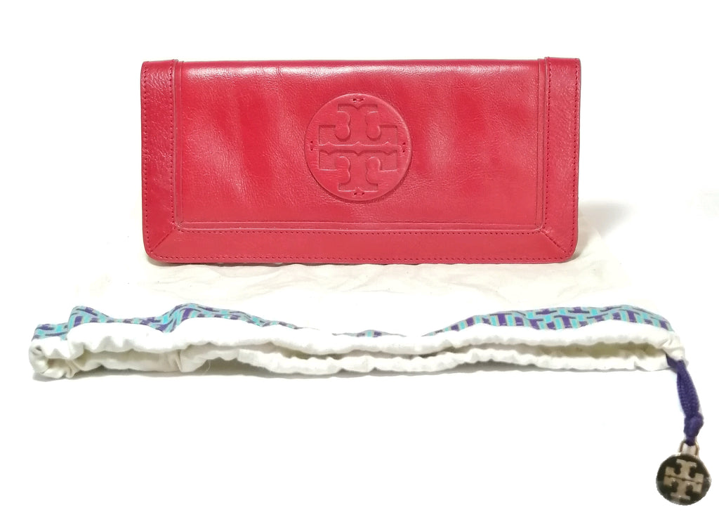 Tory Burch Red Reva Leather Clutch