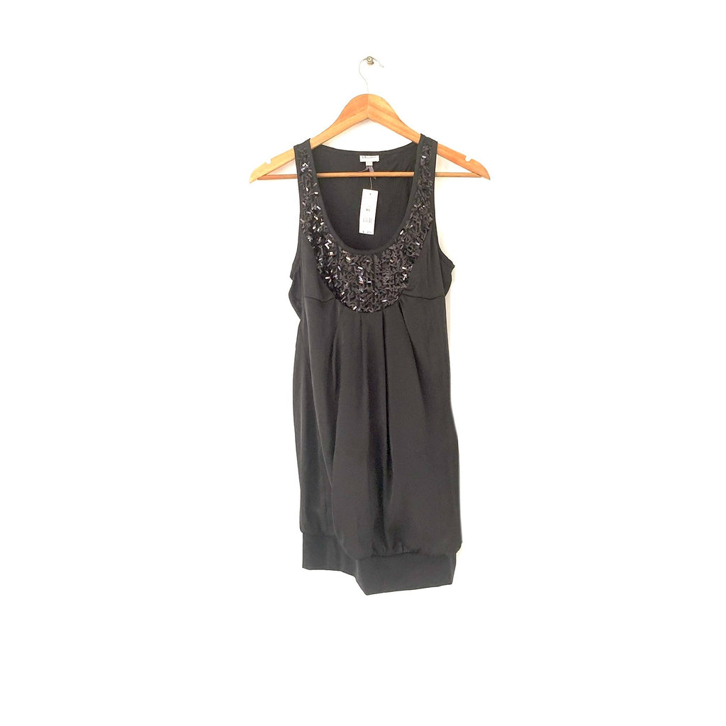 Dynamite Black Satin Sequins Sleeveless Top | Brand New |