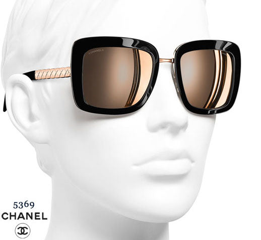 Chanel 5369 Black & Rose Gold Mirrored Sunglasses | Like New |