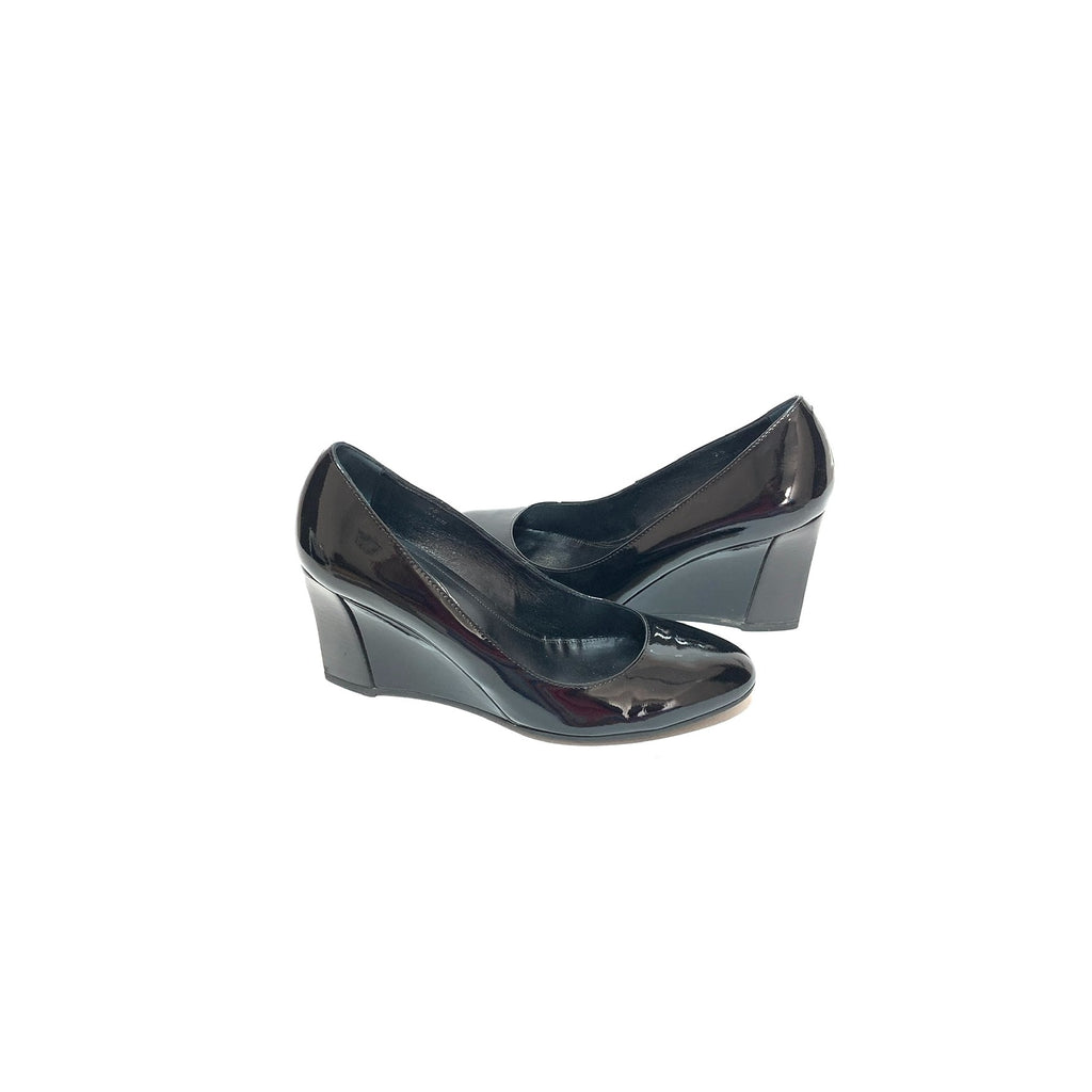 Tod's Black Patent Leather Wedge Pumps | Gently Used |