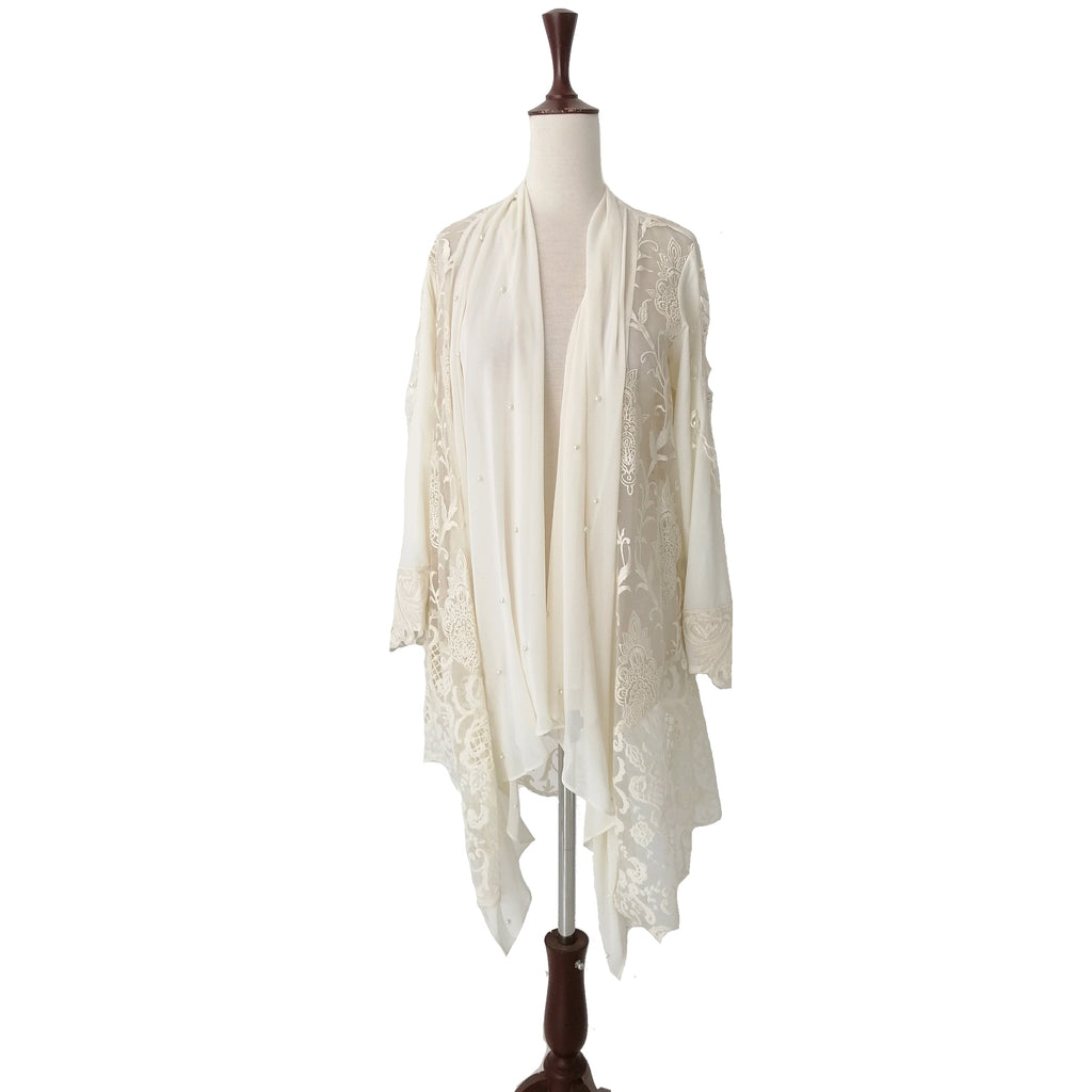 Umama Mustafa Cream Embroidered Jacket