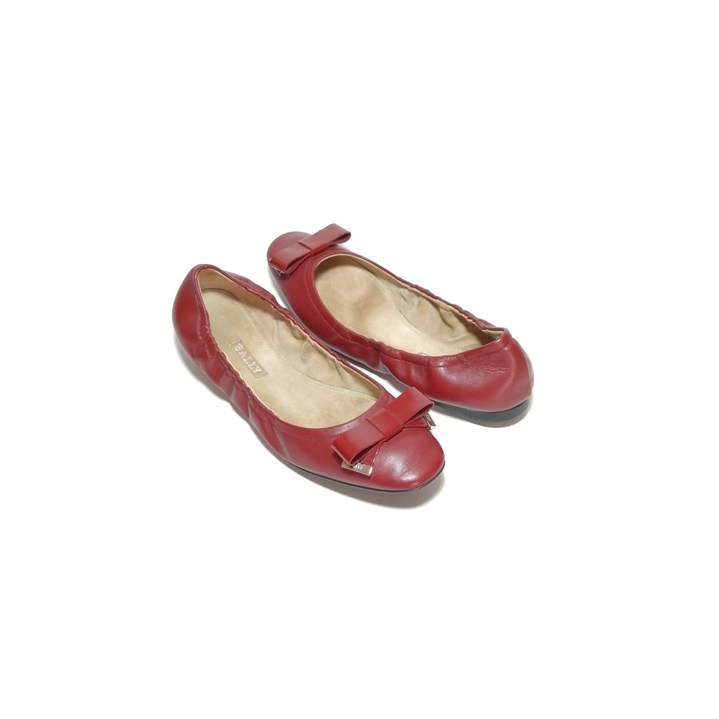 Bally Maroon Leather Ballet Flats
