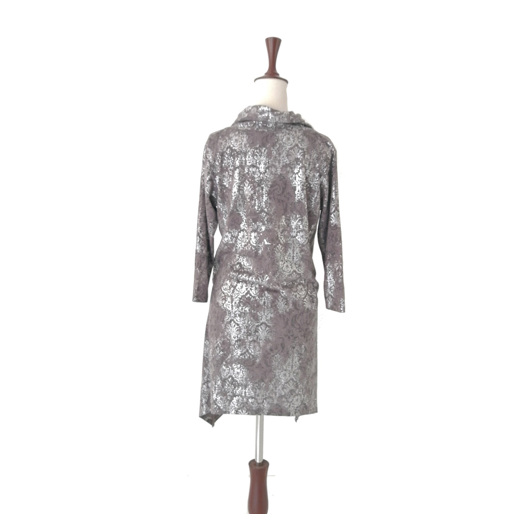 Almirah Grey & Silver Embossed Tunic