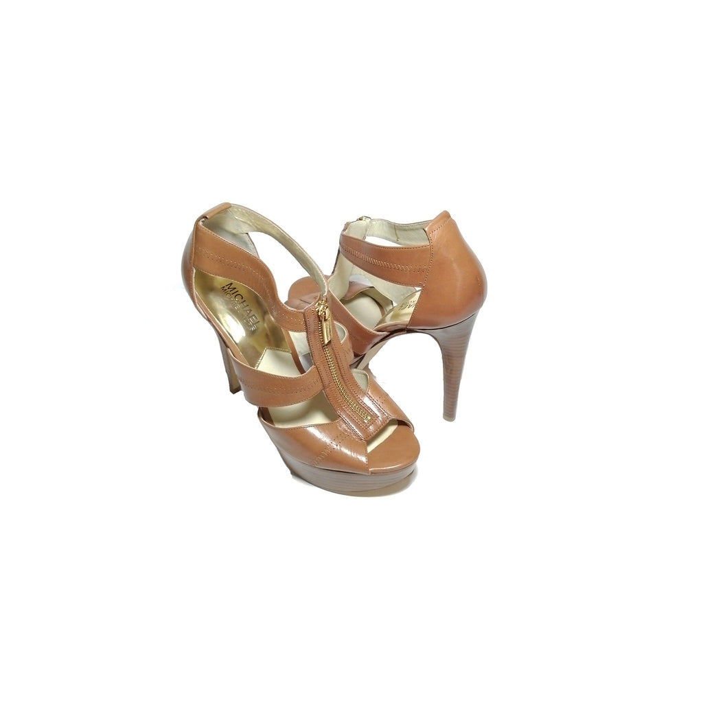 Michael Kors Tan Zip Berkley Heels