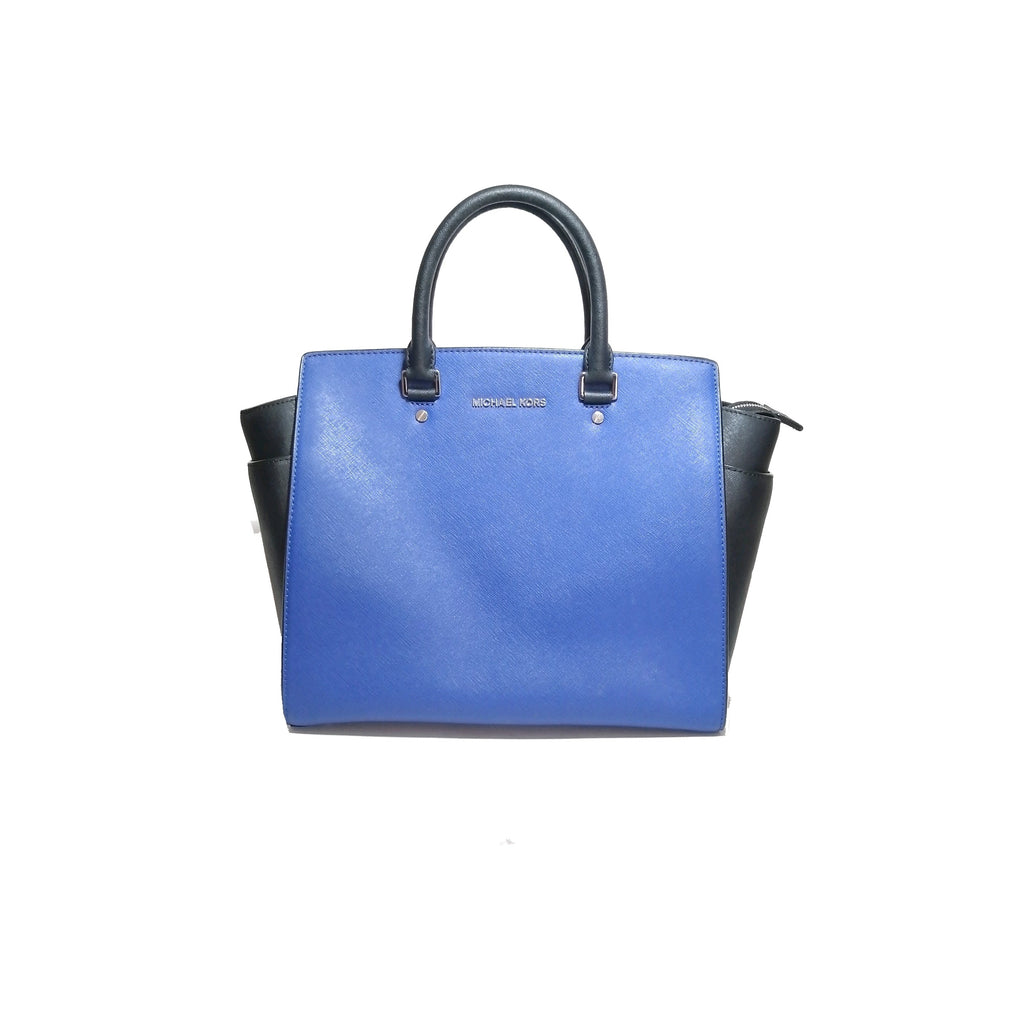 Michael Kors Cobalt Blue Leather Large Selma Satchel