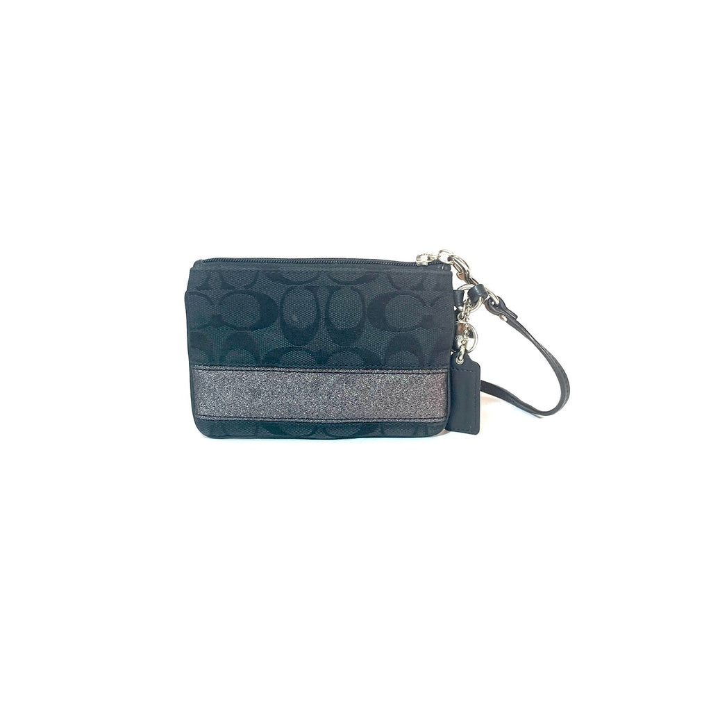 Coach Black Mini Monogram Wristlet | Pre Loved |