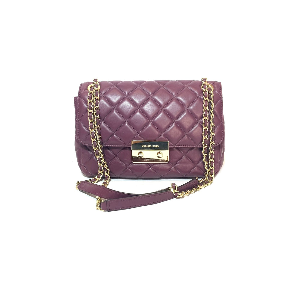 Michael Kors Maroon Quilted Leather Shoulder Bag | Gently Used |