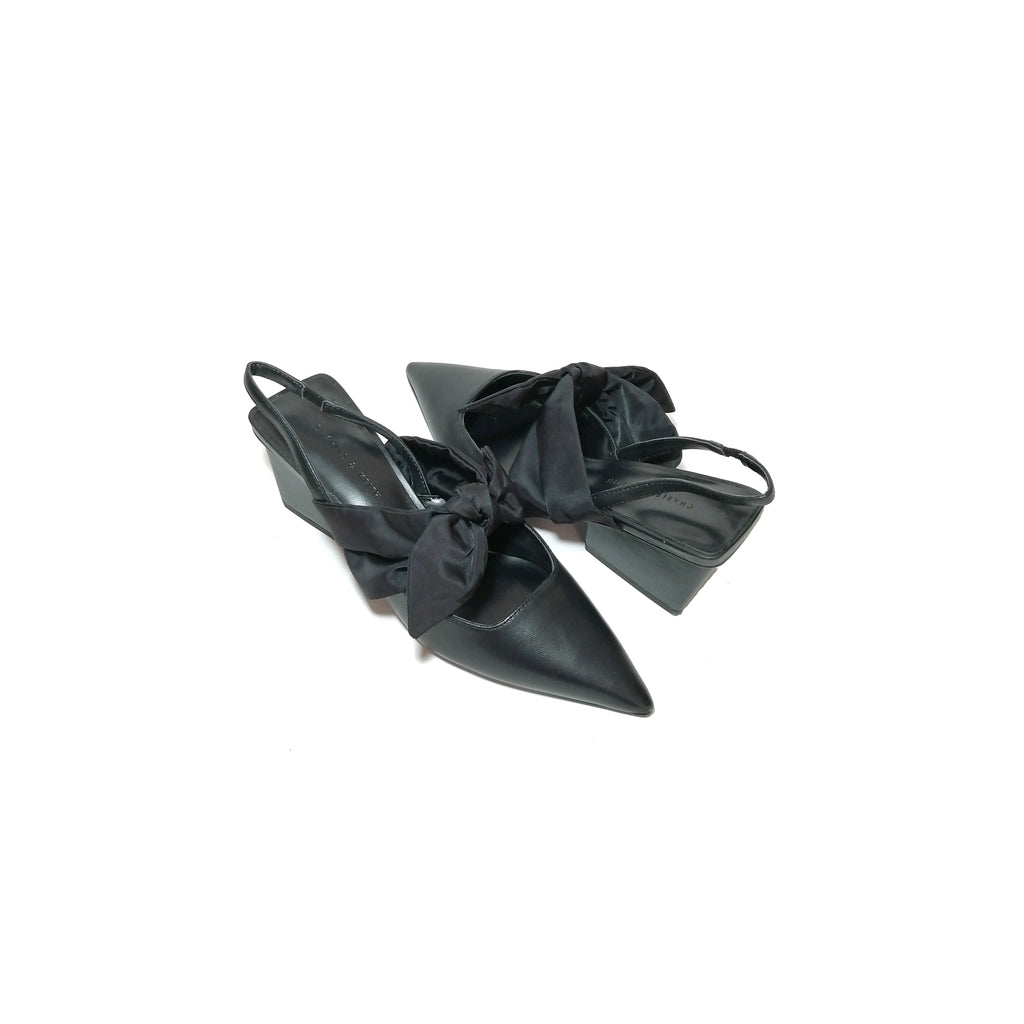 Charles & Keith Black Bow Slingback Pointed Mules