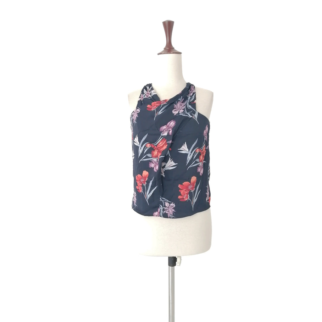 Mango Navy Printed Floral Top
