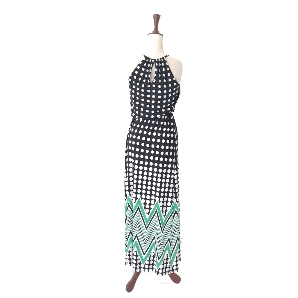 London Times Black Poka Dot Maxi Dress