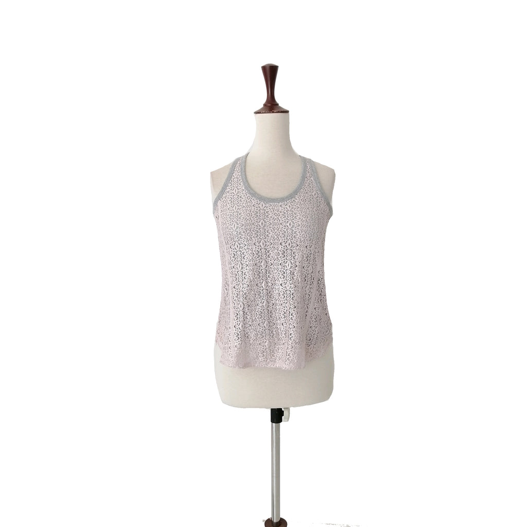 DKNY Pink & Grey Lace Tank Top
