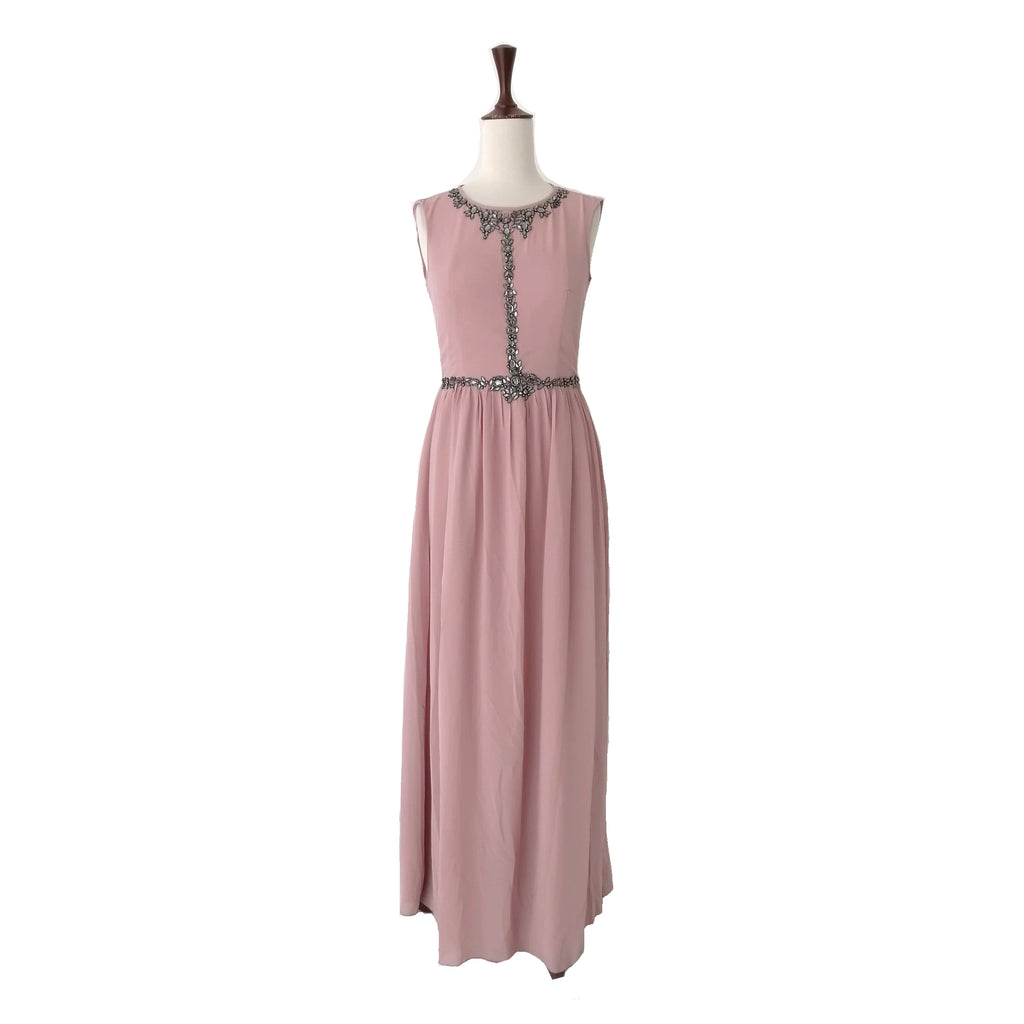 Little Mistress Blush Pink Rhinestones Maxi Dress