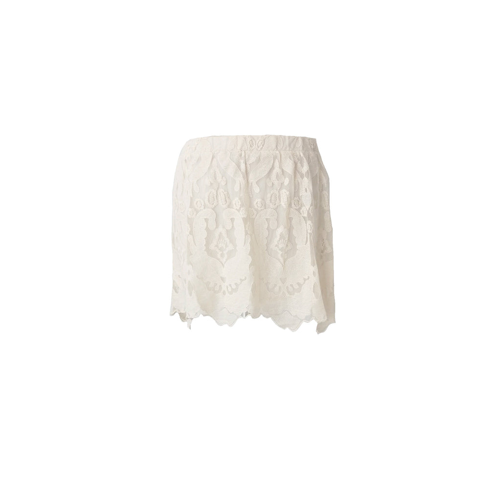 H&M Cream Lace & Pearls Embellished Skirt