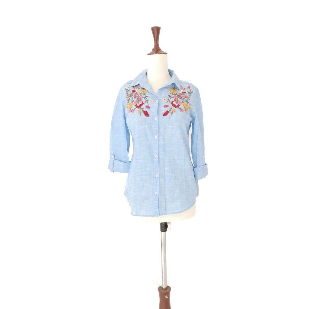 Dorthy Perkins Blue Embrioded Shirt
