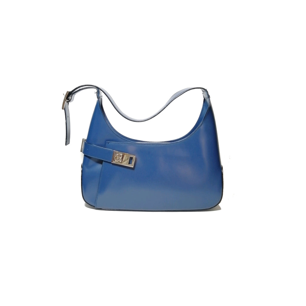 Salvatore Ferragamo Vintage Blue Leather Shoulder Bag