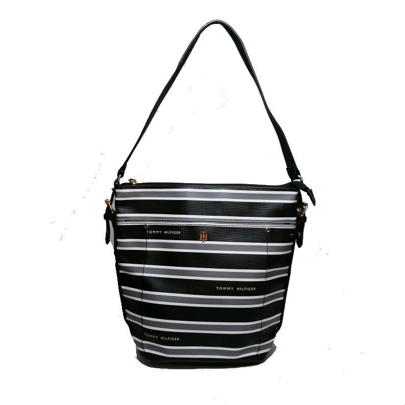 Tommy Hilfiger Striped Faux Leather Shoulder Bag