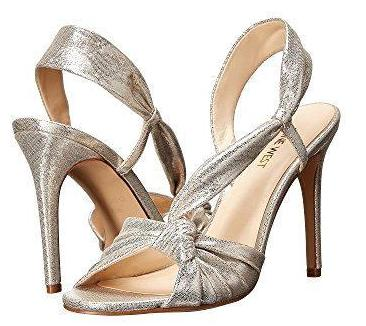 Nine West Ultanta Knotted Silver Sandals | Gently Used |