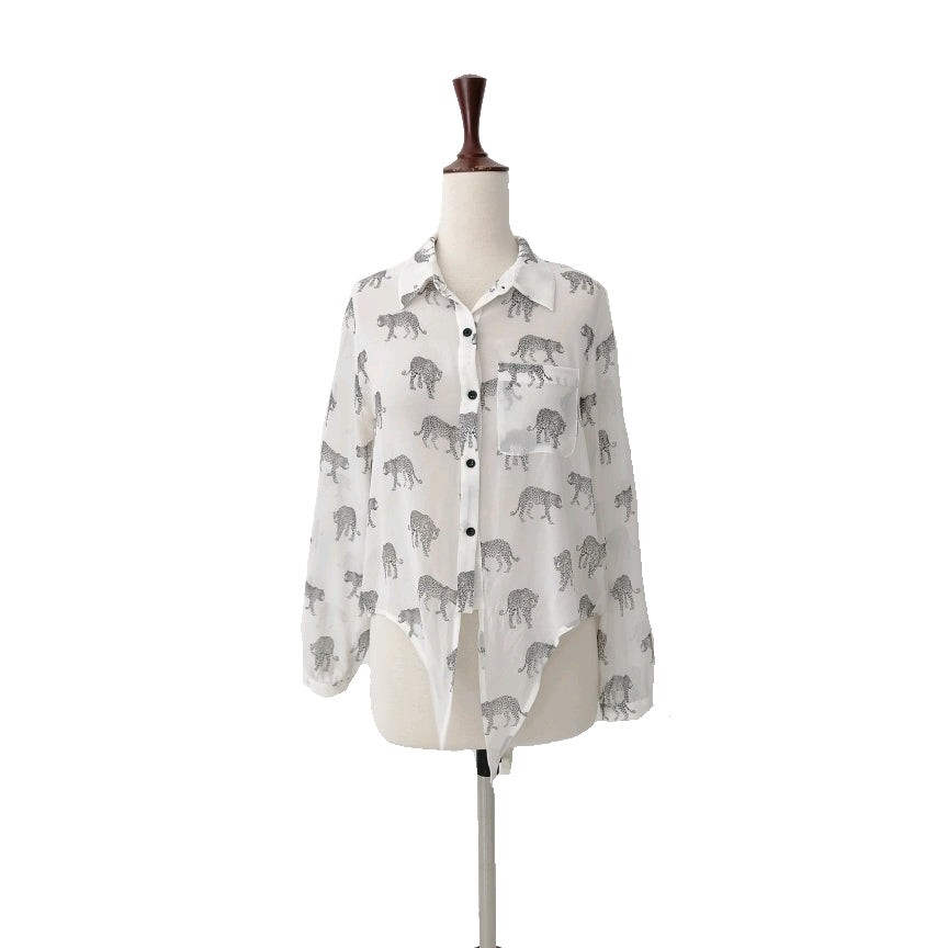 Forever 21 White Cheetah Knot Shirt