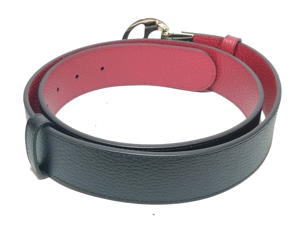 Gucci Navy & Red Pebbled Leather Reversible Belt