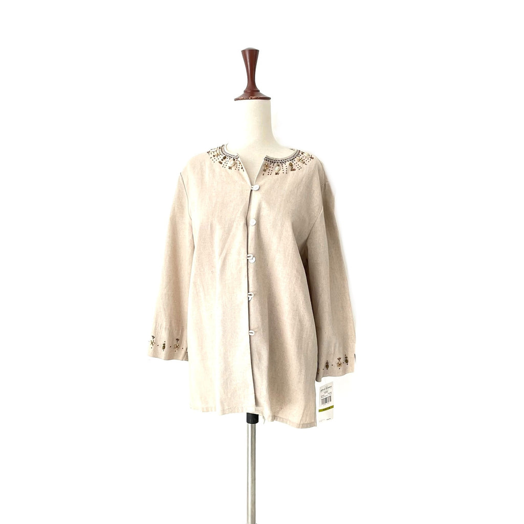 Alfred Dunner Beige Embroidered Jacket | Brand New |