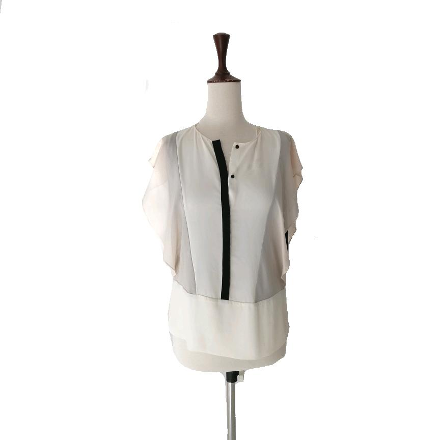 ZARA Off-white & Black Colour Blocked Blouse | Gently Used |