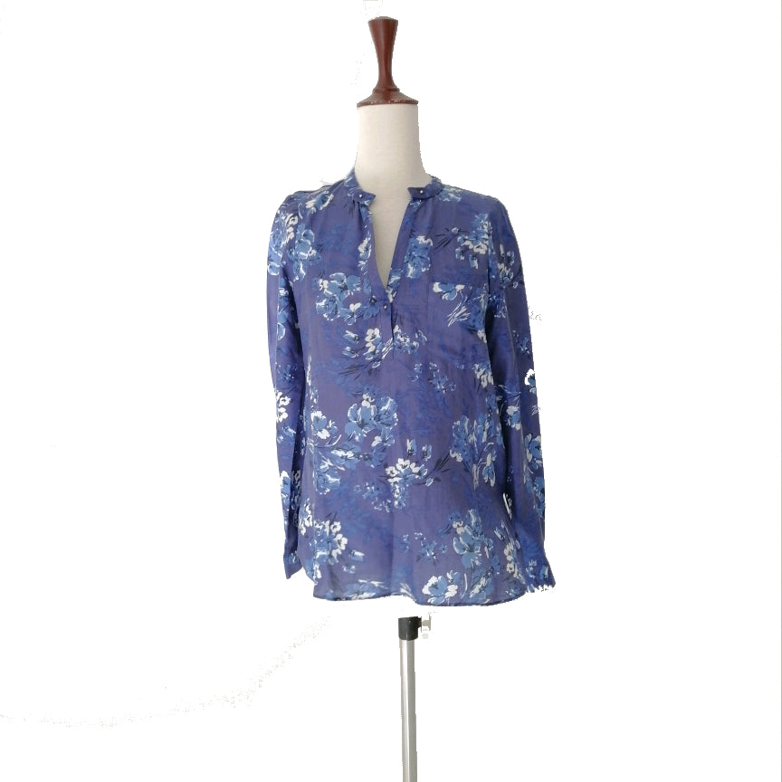 ZARA Blue Floral Printed Top | Gently Used |
