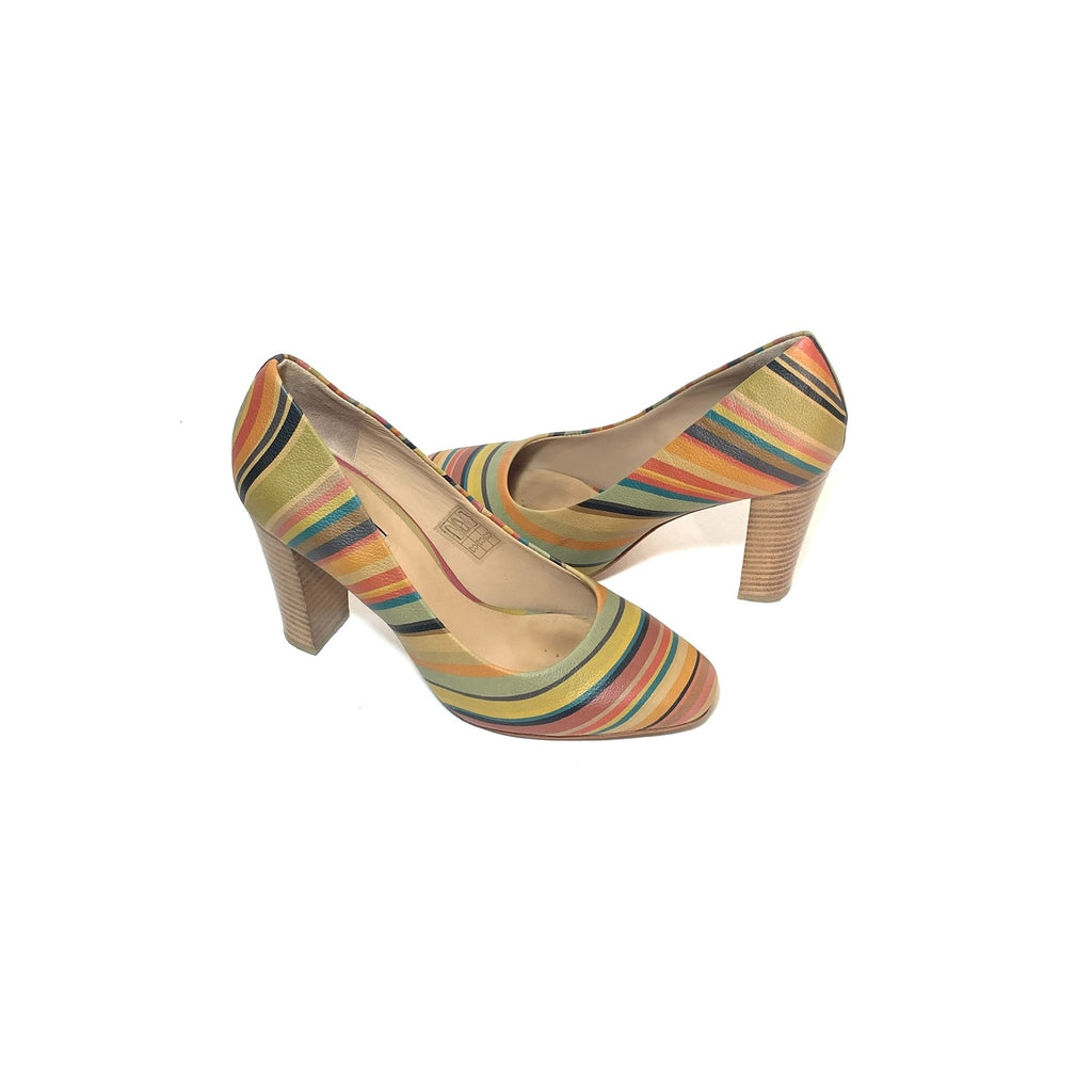 Paul Smith 'Thilo Swirl' Striped Leather Pumps | Pre Loved |