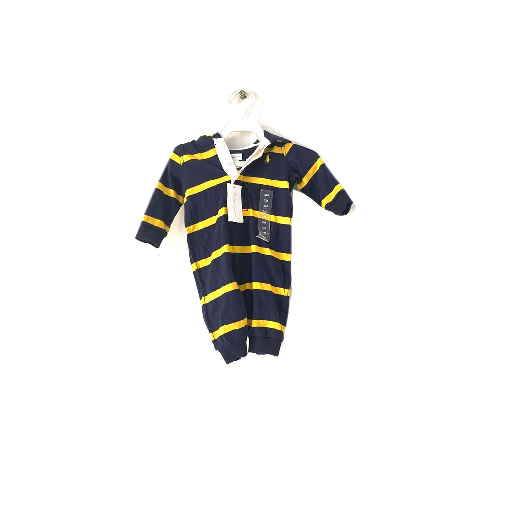 Ralph Lauren Navy & Yellow Striped Hoodie Romper | Brand New |