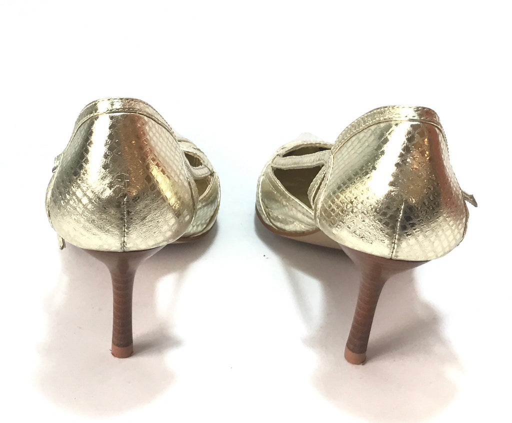 ALDO Gold Pointed Leather Pumps | Like New | - Secret Stash