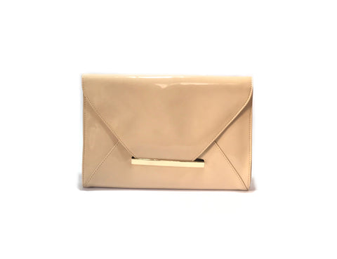 ALDO Beige Patent Envelope Clutch | Gently Used |