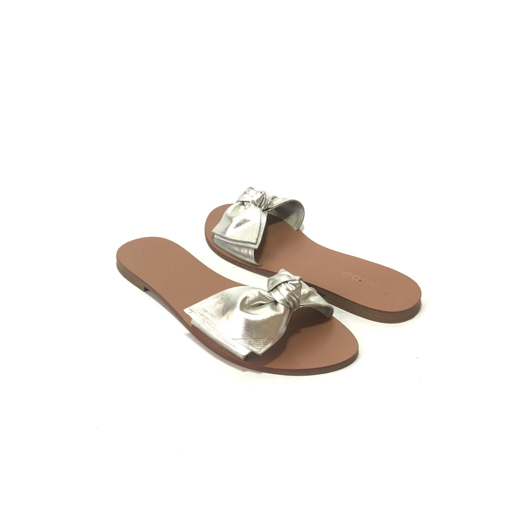 ALDO Silver Leather Bow Slides | Pre Loved |