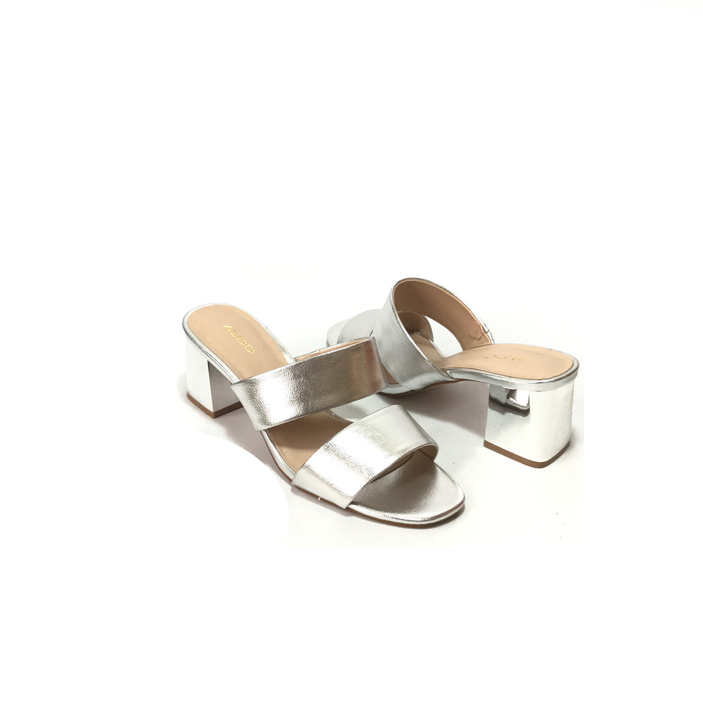 ALDO Silver Dual Strap Block Heels | Like New |