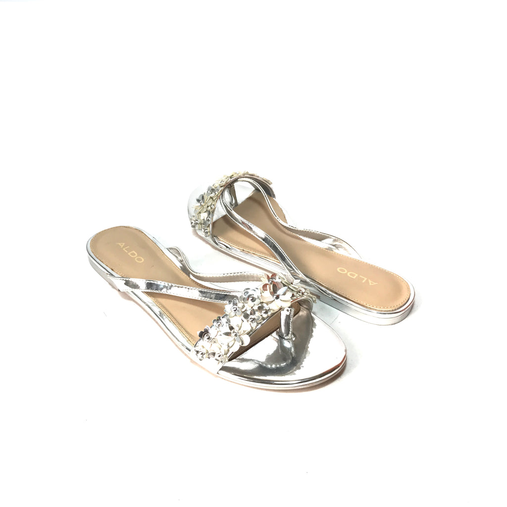 ALDO Silver MACLYA Floral Sandals | Gently Used |