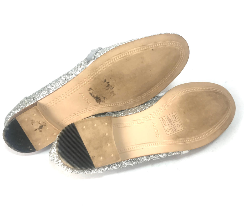ALDO Silver Glitter Loafers | Gently Used |