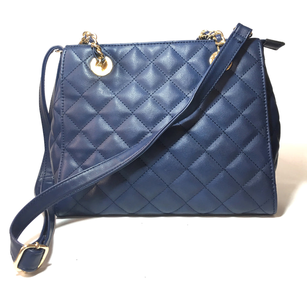 ALDO Quilted Navy Blue Shoulder Bag | Gently Used | - Secret Stash