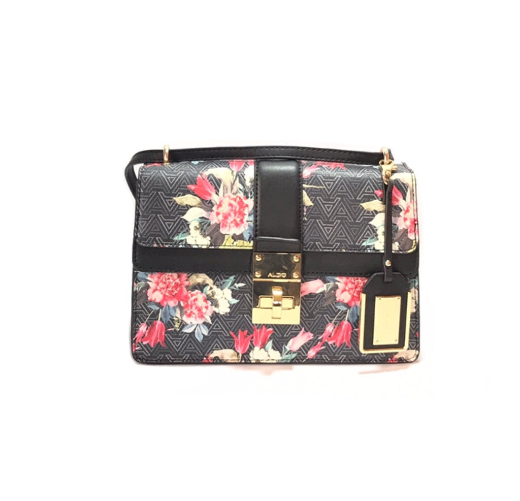 ALDO Floral & Monogram Black Satchel | Gently Used | - Secret Stash