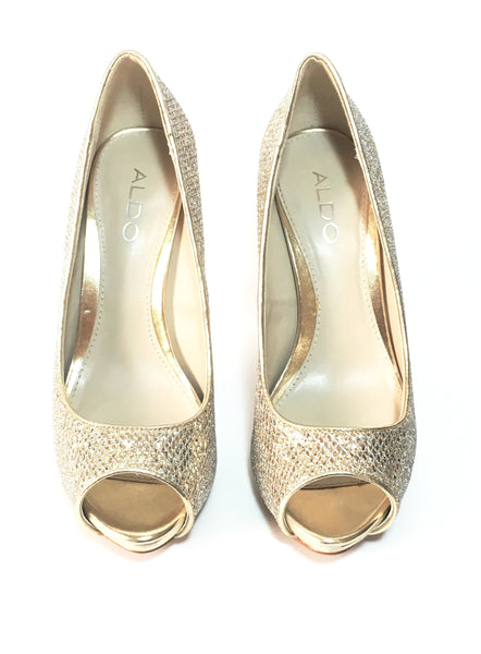 Aldo Gold & Silver Glitter Peep-toe Platform Pumps | Gently Used |